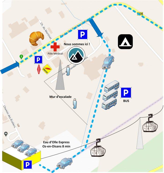 Plan d'accès Allemond Sport, domaine skiable de l'Alpe d'Huez